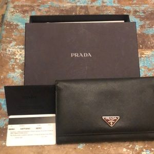 Authentic Prada Saffiano Bifold Wallet and box